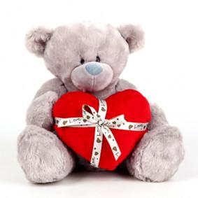 Արջ K75313G1մոխրագույն սրտով 36 սմ TM PLUSH APPLE