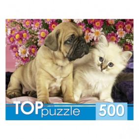 TOPpuzzle. ПАЗЛЫ 500 элементов. КБТП500-6800 Щенок и котёнок