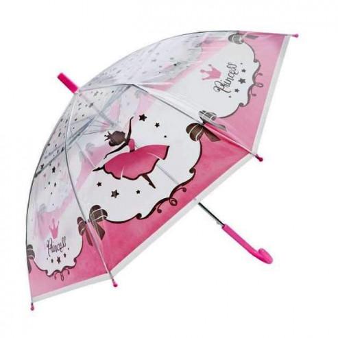 Зонт детский прозрачный Принцесса,   48см, полуавтомат