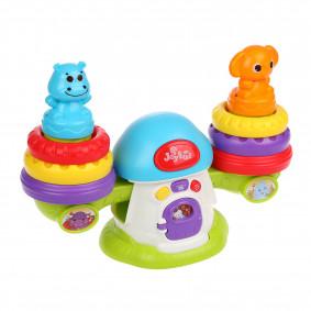 Игрушка э/ф Веселый балансир: 2 пирамидки, музыка/звуки/свет, забавные звуки при нарушении баланса