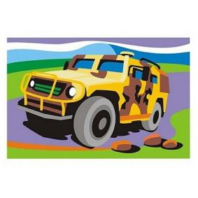Ркн-025 Картина по номерам для малышей Боевая машина