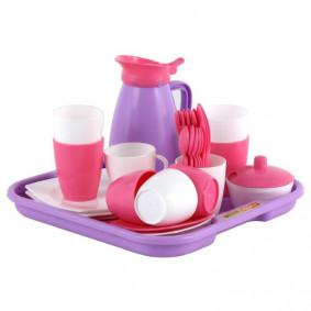 Набор 40657 детской посуды Алиса с подносом на 4 персоны (Pretty Pink) ПОЛЕСЬЕ