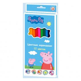 Գունավոր մատիտներ 32060, 12 գույն тм Peppa Pig