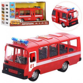 Автобус 1:32 9714A Пожарная служба, свет, звук, инерция, отк. двери, в коробке, Play Smart