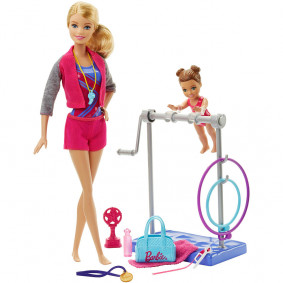 Barbie Gymnastic Coach Dolls & Playset DKJ21